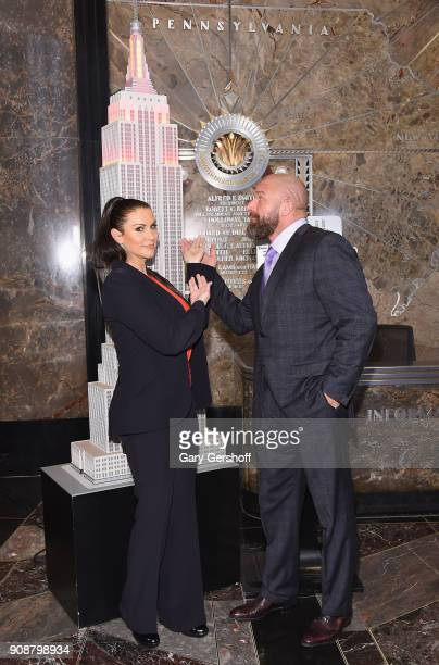 Chief Brand Officer Stephanie McMahon and WWE Champion and Executive Vice President of Talent Live Events and Creative Paul 'Triple H' Levesque...