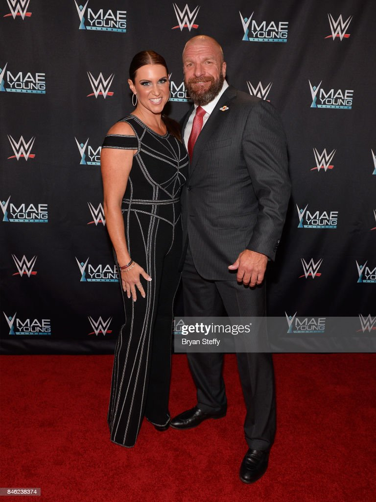 Chief Brand Officer Stephanie McMahon (L) and WWE Executive Vice President of Talent, Live Events and Creative Paul 'Triple H' Levesque appear on the red carpet of the WWE Mae Young Classic on September 12, 2017 in Las Vegas, Nevada.