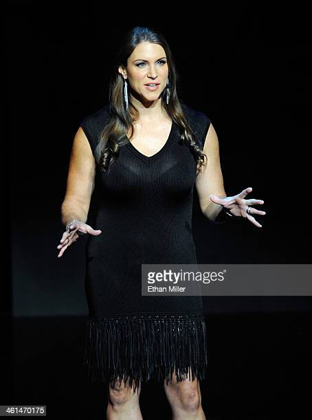 Chief Brand Officer Stephanie McMahon speaks at a news conference announcing the WWE Network at the 2014 International CES at the Encore Theater at...