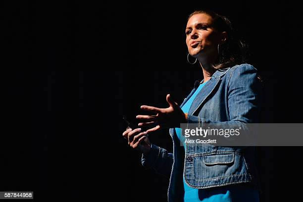 WWE chief brand officer Stephanie McMahon speaks during the Beyond Sport United event at Barclays Center on August 9 2016 in the Brooklyn borough of...