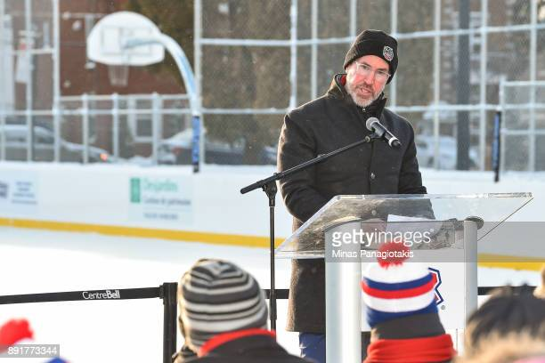 Chief Branding Officer of the NHL Brian Jennings speaks to the guests during the official inauguration of the Bleu Blanc Bouge rink by the Montreal...