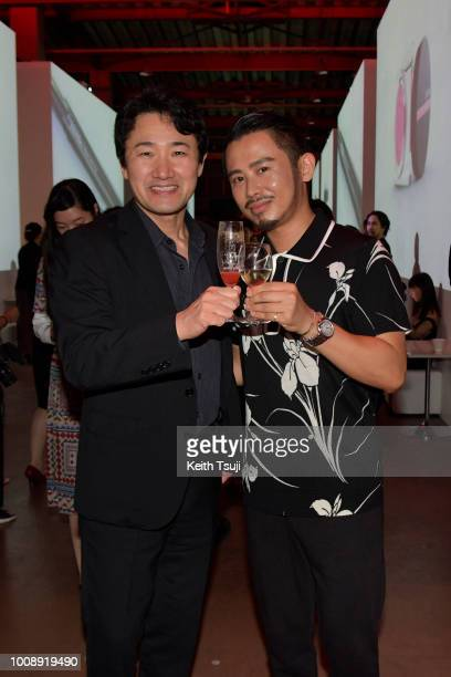 Chief Branding Officer Yoshiaki Okabe and Hiro Odagiri attend the Shiseido Makeup Tokyo Launch Event on August 1 2018 in Tokyo Japan