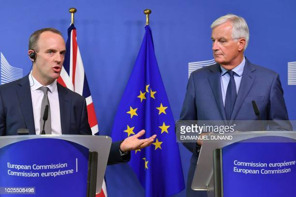 EU Chief Brexit Negotiator Michel Barnier and Britain's Brexit Secretary Dominic Raab give a joint press conference at the European Commission in...