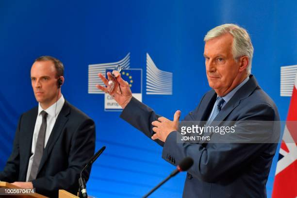 EU Chief Brexit Negotiator Michel Barnier and Britain's Secretary of State for exiting the European Union Brexit Minister Dominic Raab hold a joint...
