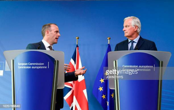 EU Chief Brexit Negotiator Michel Barnier and Britain's Secretary of State for exiting the European Union Brexit Minister Dominic Raab give a joint...