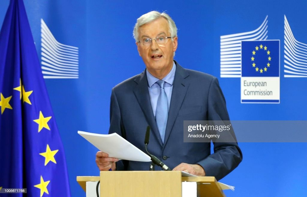 Raab - Barnier press conference in Brussels : News Photo