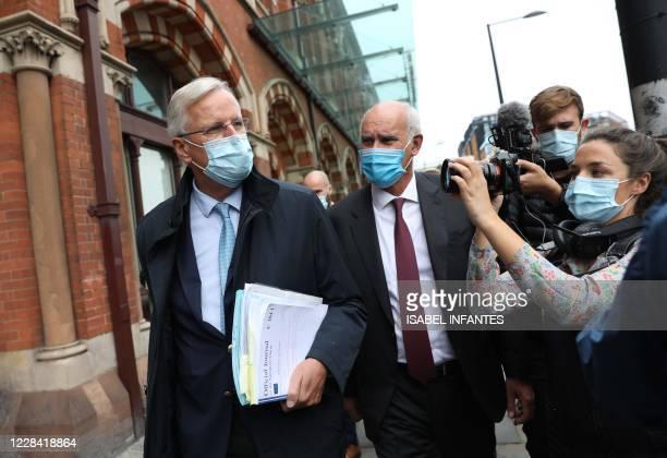 Chief Brexit negotiator Michel Barnier and EU ambassador to the UK Joao Vale de Almeida both wearing a facemasks as a precaution against the...