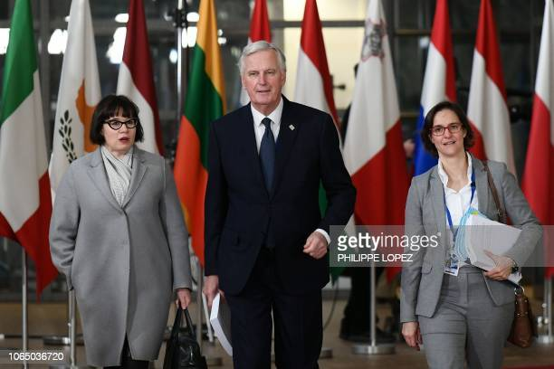 EU chief Brexit negotiator Michel Barnier arrives at a special meeting of the European Council to endorse the draft Brexit withdrawal agreement and...