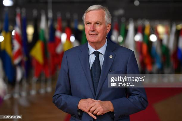 EU Chief Brexit negotiator Michel Barnier arrives at the European Council in Brussels on October 17 2018 British Prime Minister Theresa May is due to...