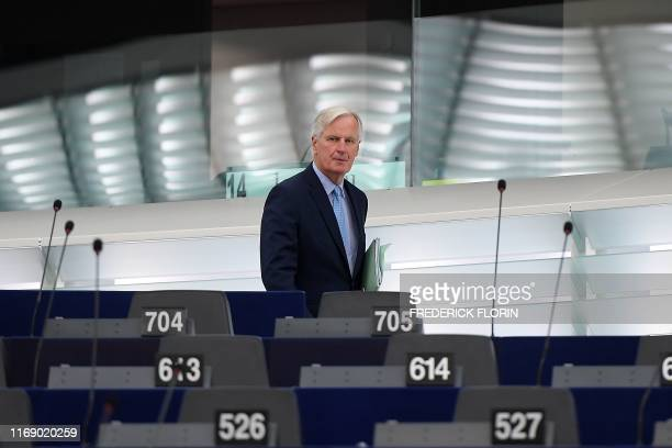 EU chief Brexit negotiator Michel Barnier arrives for a debate on Brexit at the European Parliament in Strasbourg northeastern France on September 18...