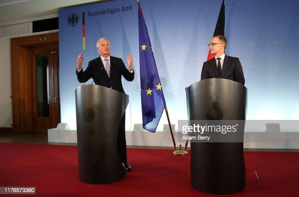 Chief Brexit negotiator Michel Barnier attends a press conference with German Foreign Minister Heiko Maas in the German federal foreign ministry on...