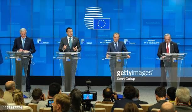 Chief Brexit negotiator Michel Barnier, Ireland's Prime Minister Leo Varadkar, European Council President Donald Tusk and European Commission...