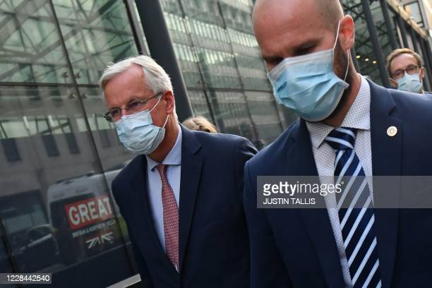 Chief Brexit negotiator Michel Barnier leaves a conference centre in London on September 10, 2020 where he joined trade talks with UK officials. -...