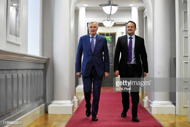 Chief Brexit Negotiator Michel Barnier walks with Taoiseach Leo Varadkar at Government Buildings where they are holding talks on April 8 2019 in...