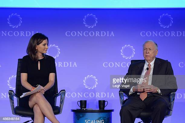 Chief Business Economics Correspondent for ABC News Rebecca Jarvis and Founder Chairman of BP Capital Management T Boone Pickens speak onstage at the...