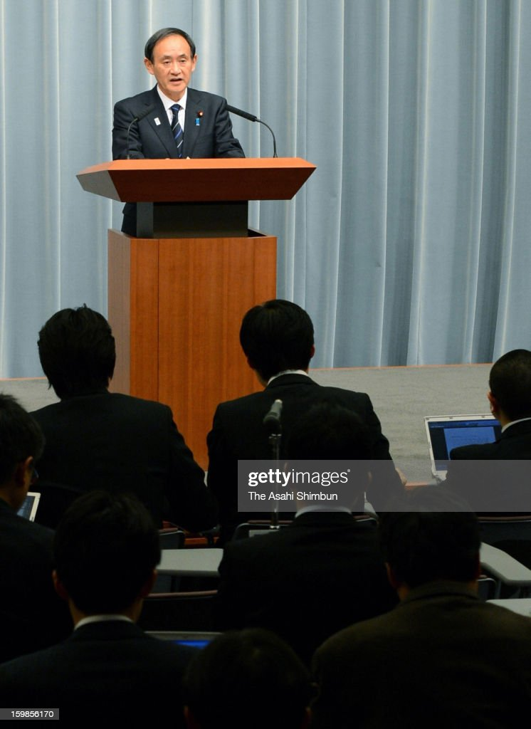 Chief Cabinet Secretary Yoshihide Suga speaks during a press conference after an emergency meeting on Japanese hostage crisis at Algerian plant at Prime Minister Shinzo Abe's official residence on January 21, 2013 in Tokyo, Japan. Japanese government officials, president and staffs of Japanese plant constructor JGC Co, who are in In Anemas confirmed seven Japanese nationals were killed in the Algerian hostage crisis.