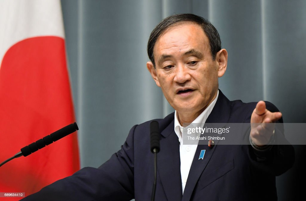 Chief Cabinet Secretary Yoshihide Suga speaks during a press conference after North Korea's missile launch at Prime Minister Shinzo Abe's official residence on May 29, 2017 in Tokyo, Japan.