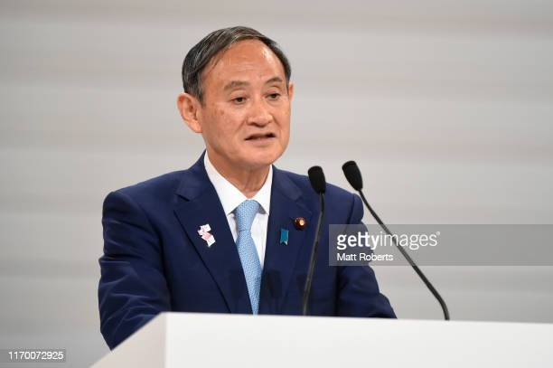 Chief Cabinet Secretary Yoshihide Suga speaks on stage during the Count Down Ceremony of the Tokyo 2020 Paralympic Games One Year To Go at the NHK...