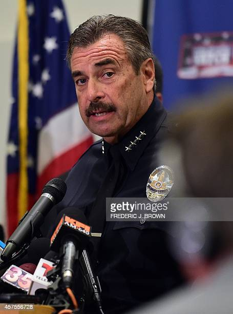 Chief Charlie Beck addresses the media at Police Headquarters in Los Angeles, California on October 20, 2014 on the death of a Cal State Northridge...