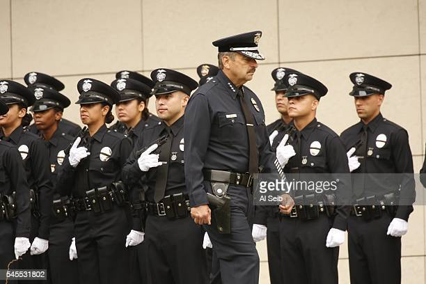 Chief Charlie Beck conducts inspection of recruits as the Los Angeles Police Department holds a graduation ceremony for 37 officers led by LAPD Chief...