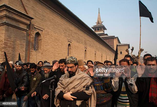 Chief cleric and Chairman of All Parties Hurriyat Conference Mirwaiz Umar Farooq offers funeral prayers in absentia for victims killed in a Militant...