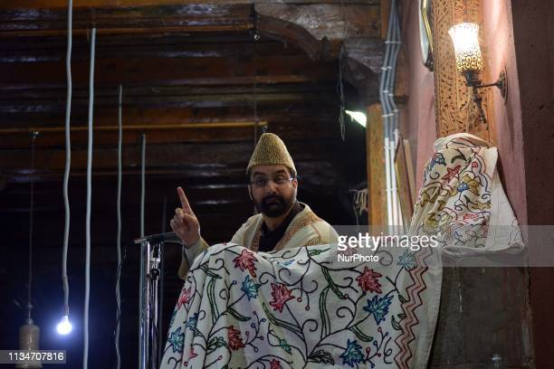 Chief cleric Mirwaiz Umer Farooq deliver sermons in SrinagarKashmir on the occasion of ShabeMeraj the night when the Holy Prophet Muhammad ascended...