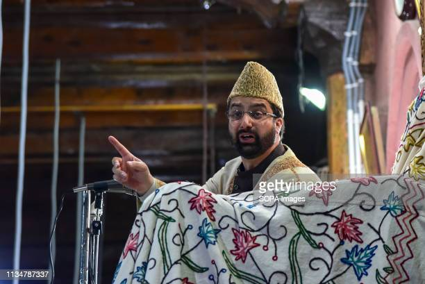 Chief cleric Mirwaiz Umer Farooq seen delivering sermon during the occasion of ShabeMeraj inside a mosque in Srinagar LailatulMeraj also known as...