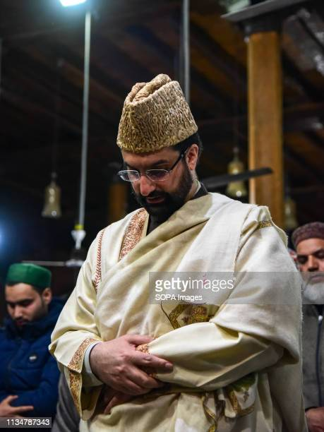 Chief cleric Mirwaiz Umer Farooq seen offering prayers during the occasion of ShabeMeraj inside a mosque in Srinagar LailatulMeraj also known as...