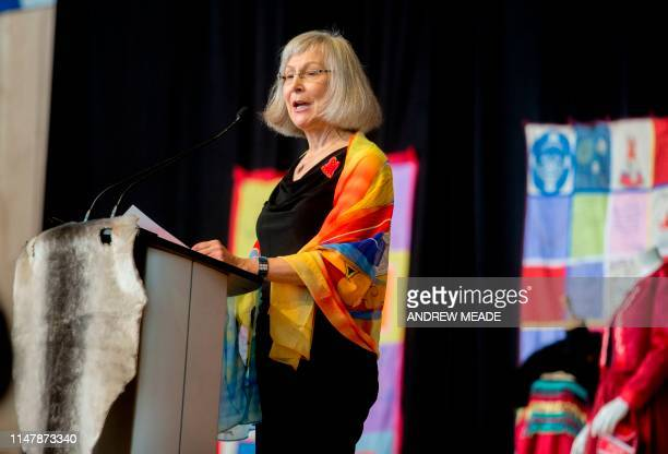 Chief Commissioner Marion Buller speaks at the closing ceremony marking the conclusion of the National Inquiry into Missing and Murdered Indigenous...