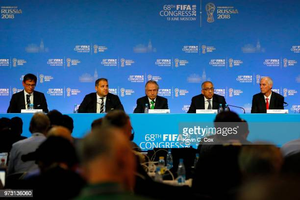 FIFA Chief Communications Officer Fabrice Jouhaud President of CONCACAF Victor Montagliani President of the Mexican Football Association Decio De...