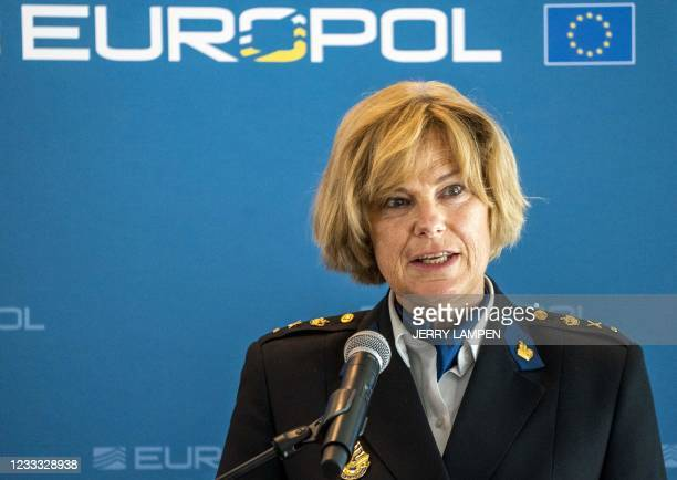 Chief Constable of the Central Unit of the Netherlands police Jannine Van der Berg delivers a speech during a press conference by EU police agency...