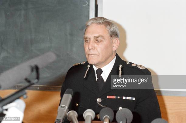 Chief Constable of the South Yorkshire Police Department Peter Wright speaking at a press conference following the Hillsborough tragedy, 16th April...