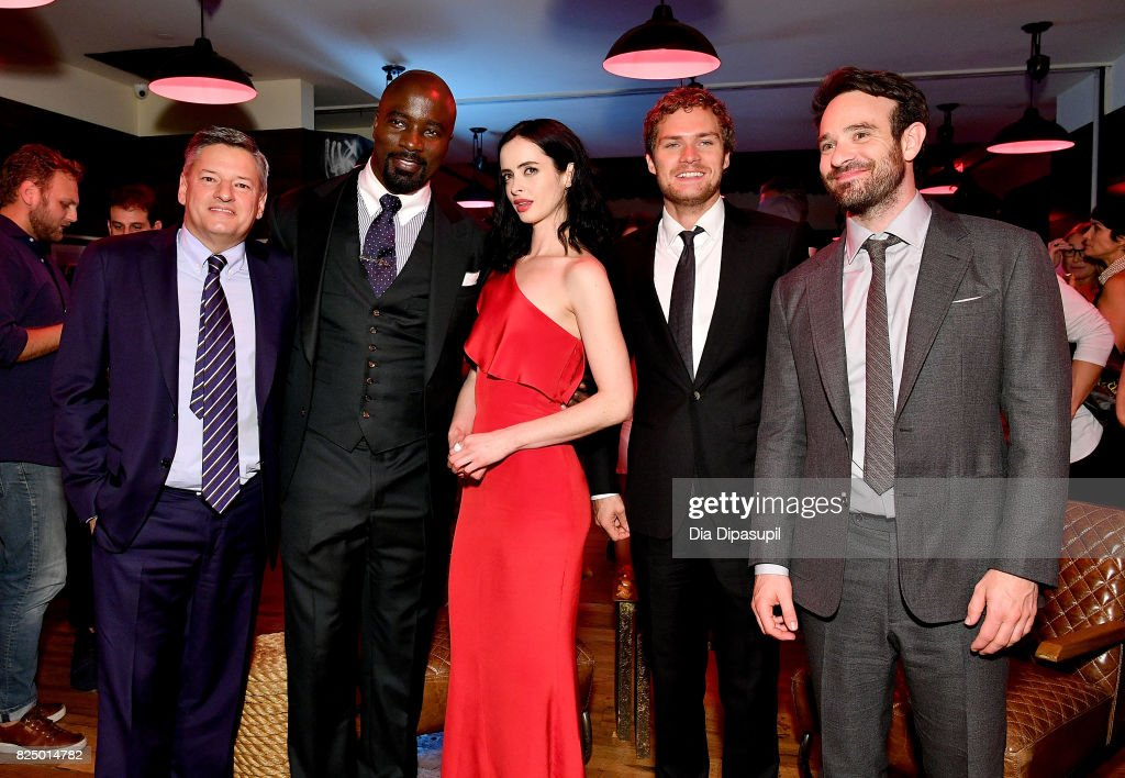Chief Content Officer at Netflix, Ted Sarandos, Mike Colter, Krysten Ritter, Finn Jones and Charlie Cox attend the 'Marvel's The Defenders' New York Premiere - After Party at The Standard Biergarten on July 31, 2017 in New York City.