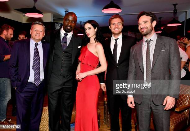 Chief Content Officer at Netflix Ted Sarandos Mike Colter Krysten Ritter Finn Jones and Charlie Cox attend the 'Marvel's The Defenders' New York...