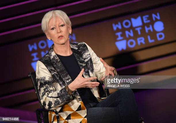 Chief Content Officer for Hearst Magazines Joanna Coles speaks at the Women in the World Summit on April 14 2018 in New York City / AFP PHOTO /...
