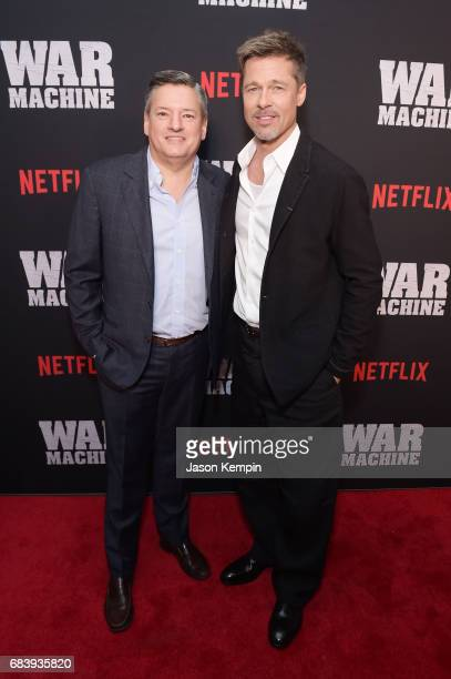 Chief Content Officer for Netflix Ted Sarandos and actor Brad Pitt attend a special screening of the Netflix original film War Machine at The...