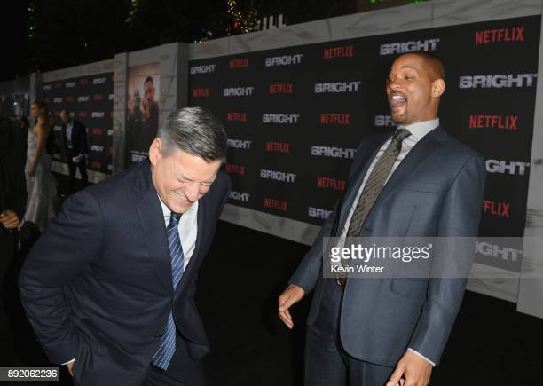 Chief Content Officer for Netflix Ted Sarandos and Will Smith attend the Premiere Of Netflix's 'Bright' at Regency Village Theatre on December 13...