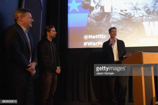 Chief Content Officer for Netflix Ted Sarandos screenwriter David Michod and actor Brad Pitt attend a special screening of the Netflix original film...
