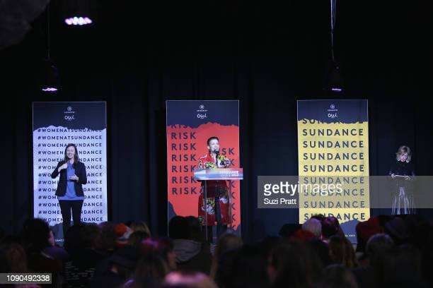 Chief Content Officer Refinery29 Inc Amy Emmerich speaks onstage at the Women At Sundance Celebration Hosted By Sundance Presented By Refinery29 And...