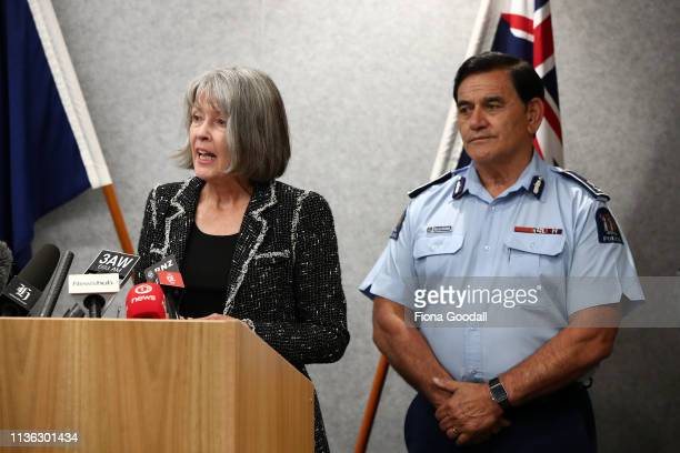 Chief Coroner Judge Deborah Marshall speaks to media supported by Police Deputy Commissioner Wally Haumaha in Christchurch New Zealand 50 people are...