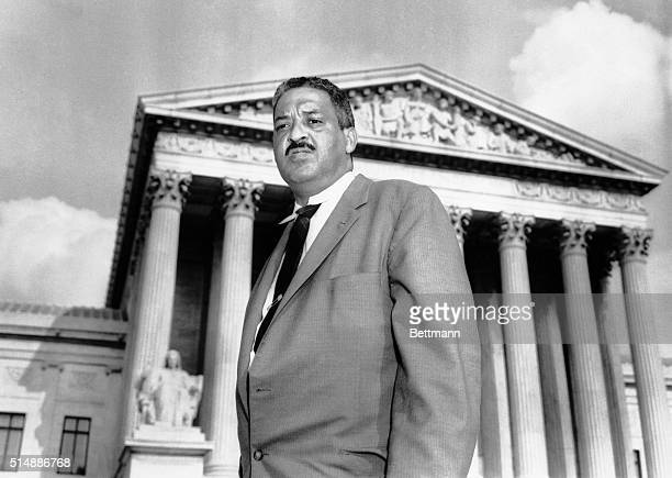 Chief Counsel Thurgood Marshall in front of the Supreme Court where he made a last-ditch appeal that would permit African American children to...