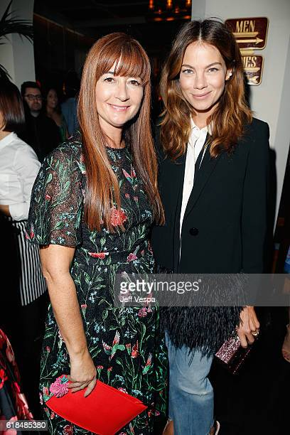 Chief Creative Officer and President of kate spade new york Deborah Lloyd and actress Michelle Monaghan at the CFDA/Vogue Fashion Fund Show and Tea...