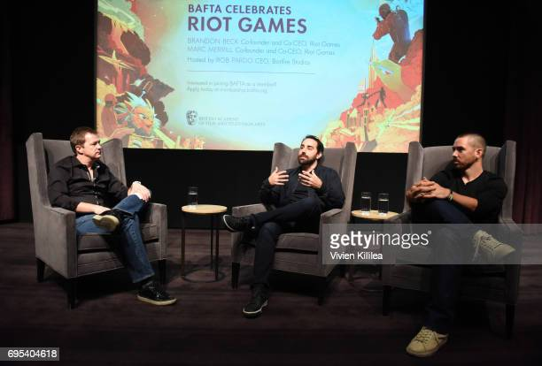 Chief Creative Officer at Blizzard Entertainment Rob Pardo and cofounders and coCEOs of Riot Games Brandon Beck and Marc Merrill speak at BAFTA...
