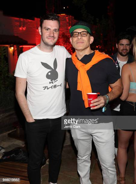 Chief Creative Officer Cooper Hefner Poses With Stillhouse CEO/Founder Brad Beckerman At Magic Hour at Playboy Social Club on April 13 2018 in Palm...