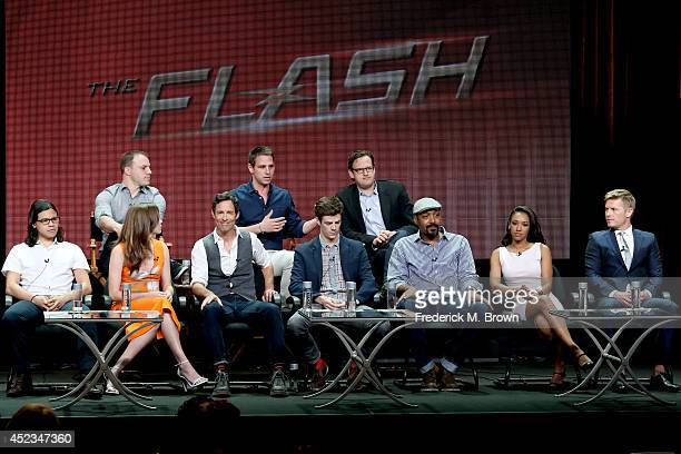 Chief Creative Officer of DC Entertainment Geoff Johns producers Greg Berlanti and Andrew Kreisberg and actors Carlos Valdes Danielle Panabaker Tom...
