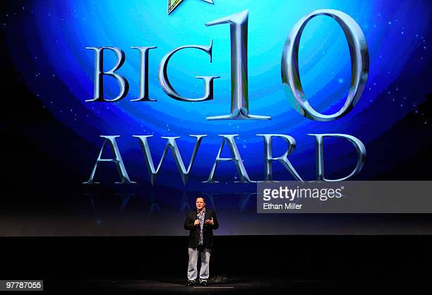 Chief Creative Officer of Pixar and Disney Animation Studios John Lasseter accepts the ShoWest Big Ten Award at the Paris Las Vegas during ShoWest...