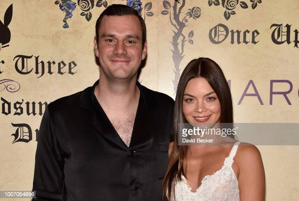 Chief Creative Officer of Playboy Cooper Hefner and his fiance Scarlett Byrne arrive at Playboy's Midsummer Night's Dream at the Marquee Nightclub at...