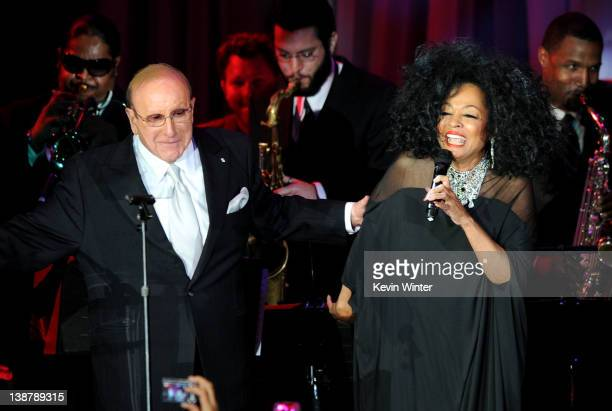 Chief Creative Officer of Sony Music Entertainment Clive Davis and singer Diana Ross onstage at Clive Davis and the Recording Academy's 2012...