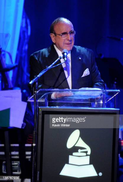 Chief Creative Officer of Sony Music Entertainment Clive Davis speaks onstage at Clive Davis and the Recording Academy's 2012 PreGRAMMY Gala and...