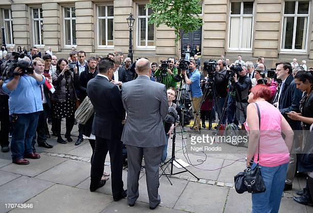 Chief Crown porsecutor Nazir Afzal and Chief Supp Neil Esseen speak to media after Broadcaster Stuart Hall was sentenced to 15 months in prison at...